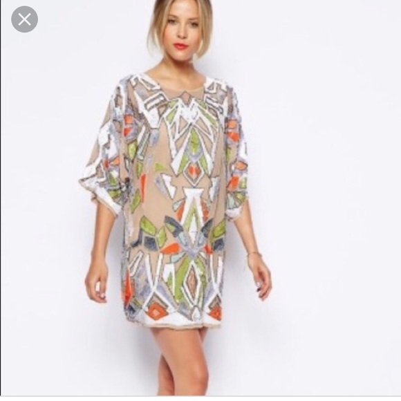 d5502e2ffc6ee ASOS Dresses & Skirts - ASOS premium sequin geo tribal kimono mini dress
